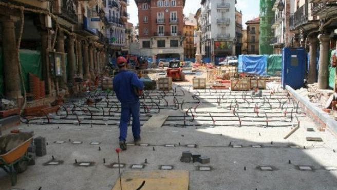 Imagen de archivo de las obras en la plaza del Torico.