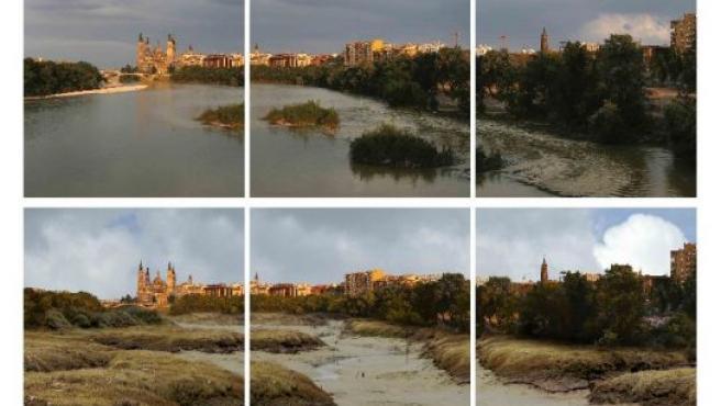 El cambio climático acabará secando el río Ebro a su paso por Zaragoza. En la imagen, una recreación virtual de Greenpeace.