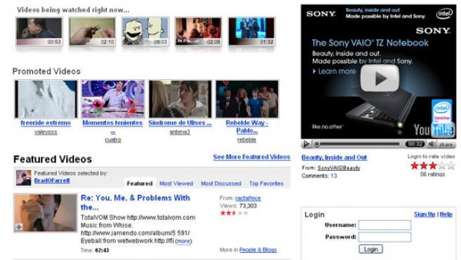 Captura de la página web de YouTube.