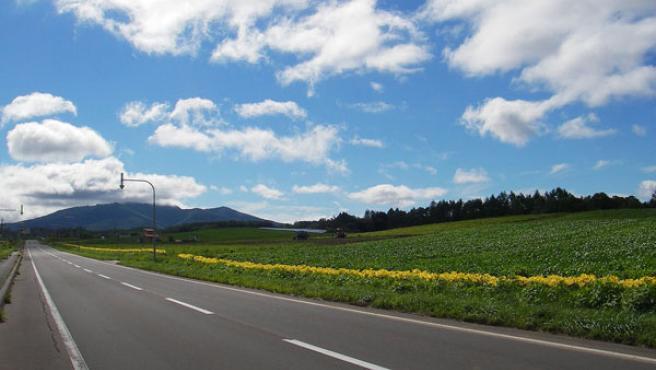 Una carretera de Hokkaido, en Japón.