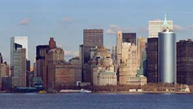 Vista del skyline de Manhattan desde el ferry a Staten Island.