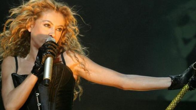 Paulina Rubio durante un concierto en Puerto Rico.