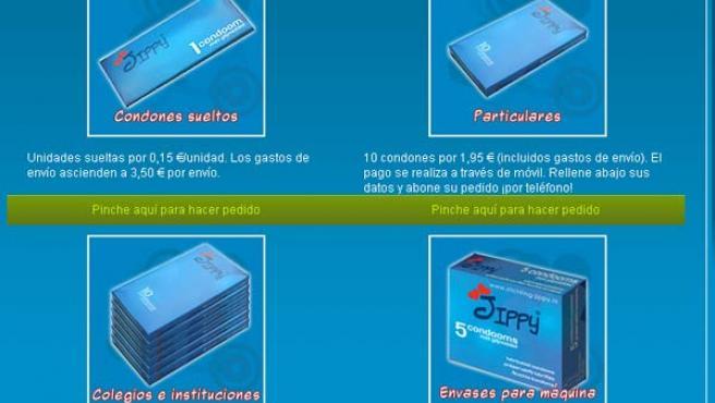 Imagen de la web de Jippy, desde donde se pueden pedir los condones. (JIPPY.EU)