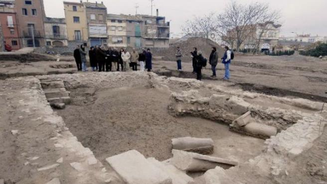 """Vista general de la """"Natatio"""" (piscina cubierta) de la ciudad romana de Iesso, en Guissona (Lleida)."""