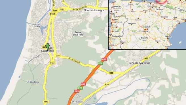 Mapa de la localidad de Cap Breton, al sur de Francia, donde ETA ha vuelto a matar.