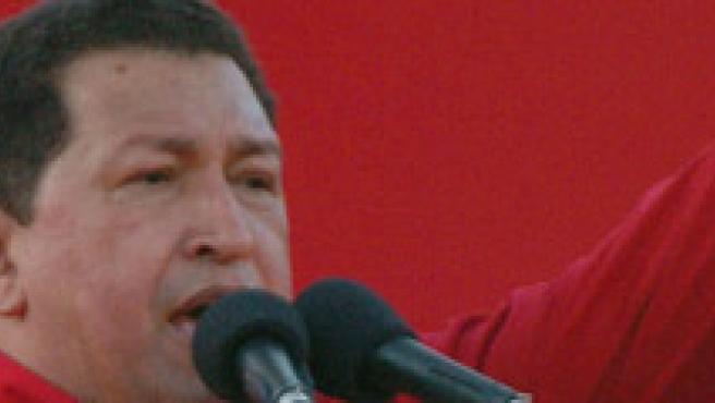 El presidente de Venezuela, Hugo Chávez, pronuncia su discurso.