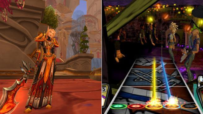 'World of Warcraft', éxito de Blizzard (izquierda), y 'Guitar Hero', superventas de Activision (derecha).