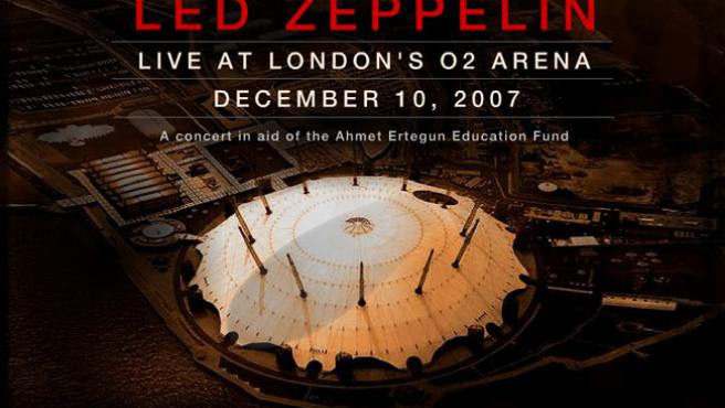 La sombra del 'Zeppelin' ya sobrevuela la sala O2 Arena, de Londres. (Montaje: ledzeppelin.com).