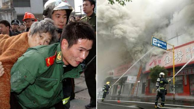 Algunos de los rescatados en el incendio.(REUTERS/China Daily)