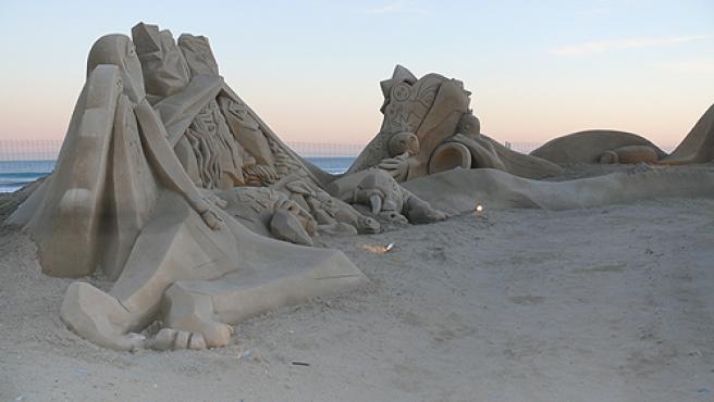 Un detalle del belén de arena de Vila-seca.