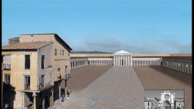 Recreación del templo de Augusto, ubicado en la Catedral de Tarragona. (ARZOBISPADO DE TARRAGONA/ACN)
