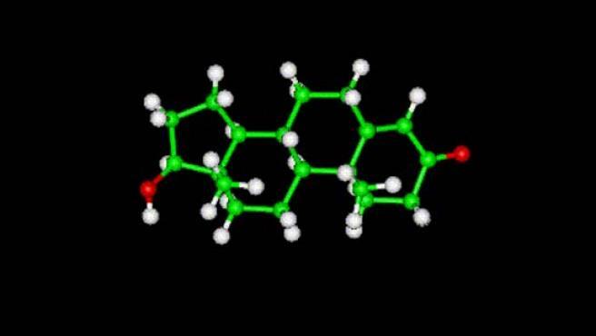 Una molécula de testosterona en un gráfico por ordenador.