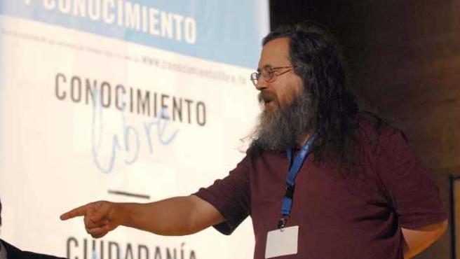 El presidente de la Fundación Software Libre, Richard Stallman, durante las jornadas sobre Ciudadania, Libertad y Conocimiento.