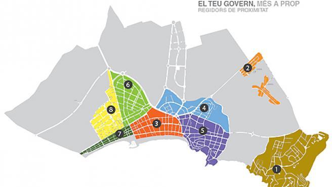 Se han creado 8 grandes áreas, una para cada regidor.