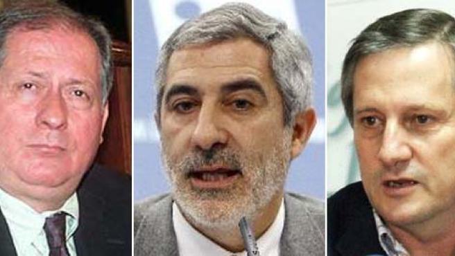 De izda. a dcha.: Felipe Alcaraz, Gaspar Llamazares y Willy Meyer.