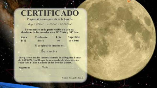 Uno de los certificados de propiedad de parcelas lunares que se pueden encontrar en diferentes páginas de internet.