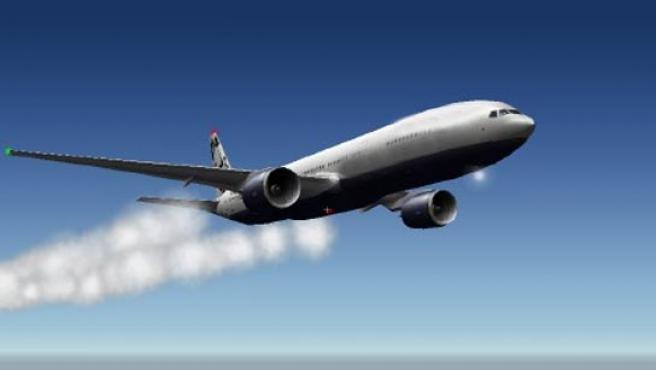 Estela de gases que deja un avión en vuelo.