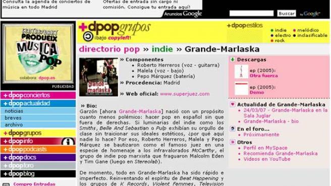 Página de uno de los grupos promocionados en dpop.es