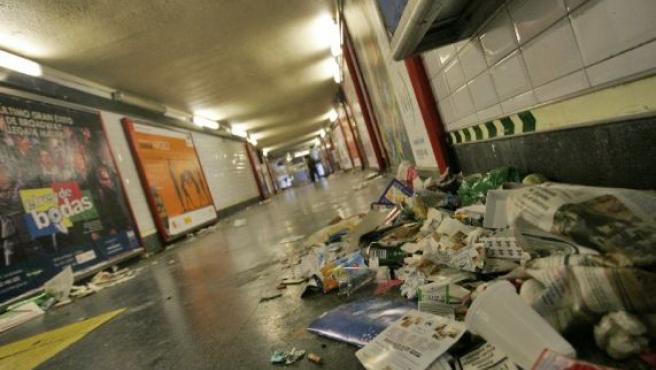 Los pasillos del metro, ayer.