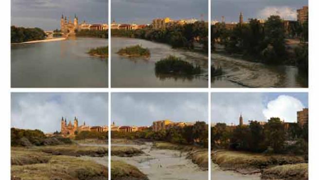 Zaragoza, en una imagen retocada que muestra como se quedaría el Ebro en 2050 por culpa de la sequía.