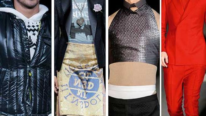Varios modelos desfilando durante la semana de la moda masculina de Milán.