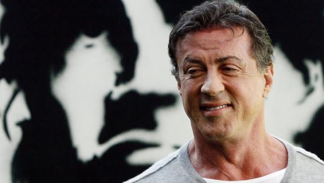 Sylvester Stallone en la presentación de su película 'John Rambo' en el estadio de fútbol Santiago Bernabéu(Madrid).