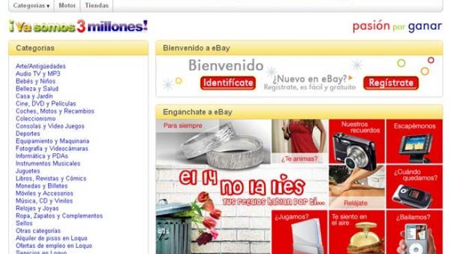 Página principal del popular sitio de subastas.