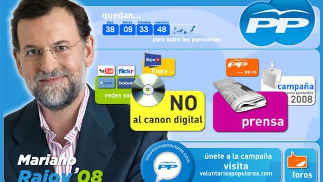 """El PP dice """"no al canon digital"""" en su página web."""