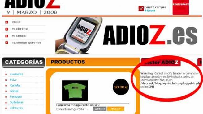 Captura de la página web, con algunos fallos de programación (FUENTE: ADIOZ.EZ).