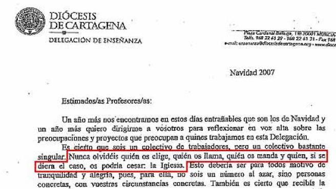 Carta enviada por el Obispado de Cartagena a profesores de religión.