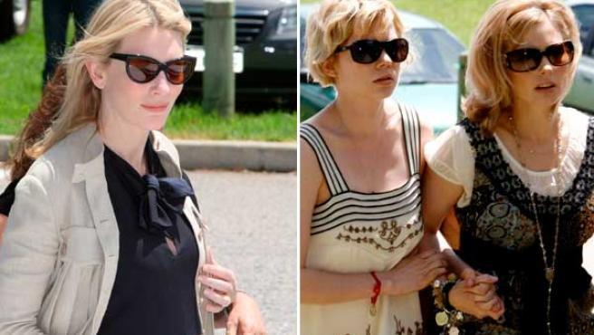 La actriz Cate Blanchett y Michelle Williams y Kate Ledger se dirigen al funeral por el actor. (EFE)