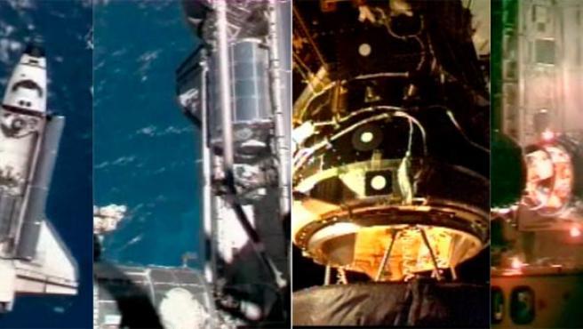 Imagen que muestra al transbordador espacial Atlantis llegando a la Estación Espacial Internacional (EEI).