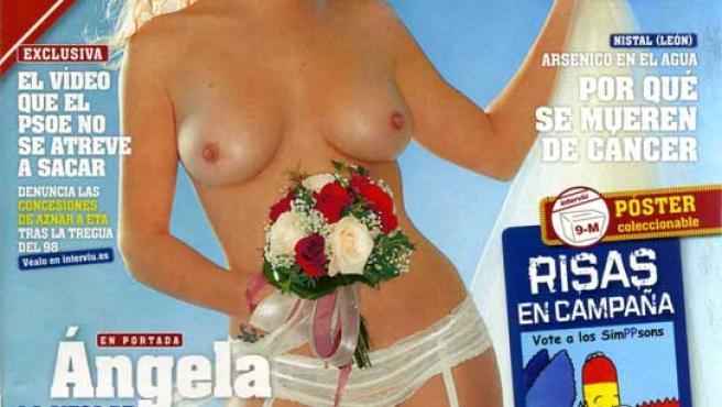 Angela Linares, en la portada de la revista 'Interviú'.