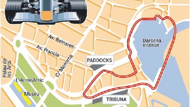 Plano del circuito del G. P de Valencia (pulsa en 'ampliar imagen para verlo completo).