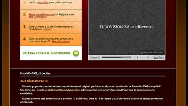 Imagen de la página de TVE y Eurovisión en el portal MySpace.