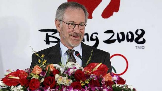 El director de cine Steven Spielberg, durante una conferencia sobre los Juegos Olímpicos. (Reuters)