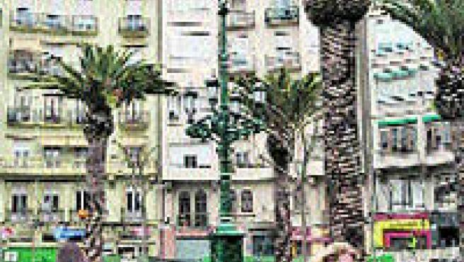 Con la finalización de las obras del aparcamiento de la plaza Cánovas, las palmeras han vuelto a poblar la zona (Paco Llopis).