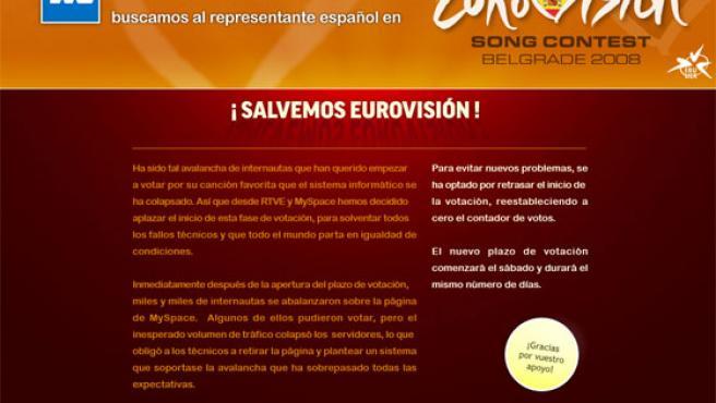 Comunicado de TVE en la web de Eurovisión alojada en MySpace.