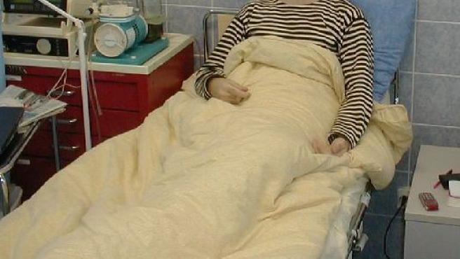 Enfermo en un hospital.