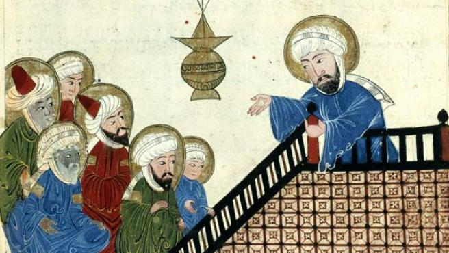 Representación de Mahoma predicando.