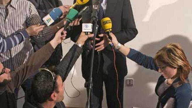 El ministro del Interior durante su comparecencia ante los medios.