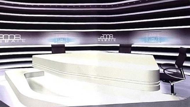 Recreación del escenario donde celebrarán el debate José Luis Rodríguez Zapatero Mariano Rajoy (ACADEMIA DE TELEVISIÓN)