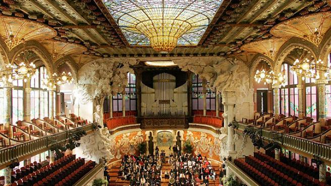 Interior del Palau de la Música Catalana en Barcelona.