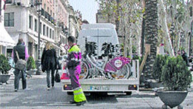 Hasta 70 plazas de bicicleta de alquiler tendrá el punto de Sevici. (Carlos Escolástico)