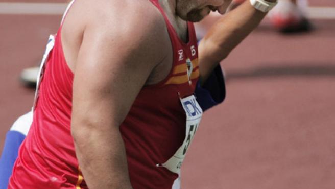 Manuel Martínez, capitán del equipo español de atletismo y plusmarquista nacional de peso.