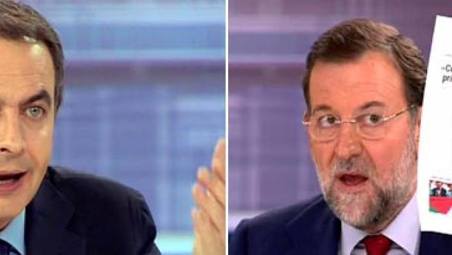 Zapatero y Rajoy en uno de los momentos más candentes del debate (AGENCIAS)