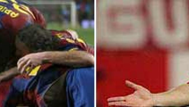 Varios jugadores del Barcelona celebran un gol (izq.) y el rojiblanco Forlán gesticula (der.) (ARCHIVO)