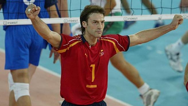 Rafa Pascual, en uno de sus partidos con la selección española. (Federación Española de Voleibol)