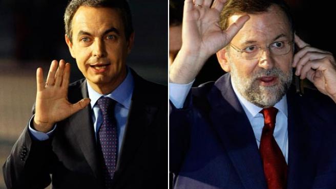 Zapatero y Rajoy saludan al final de su primer debate (REUTERS)