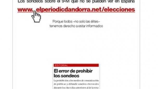 'El Periódico' anuncia sondeos electorales publicados en Andorra.